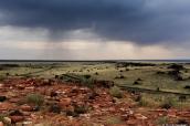 Paysage de Wupatki sous un ciel orageux