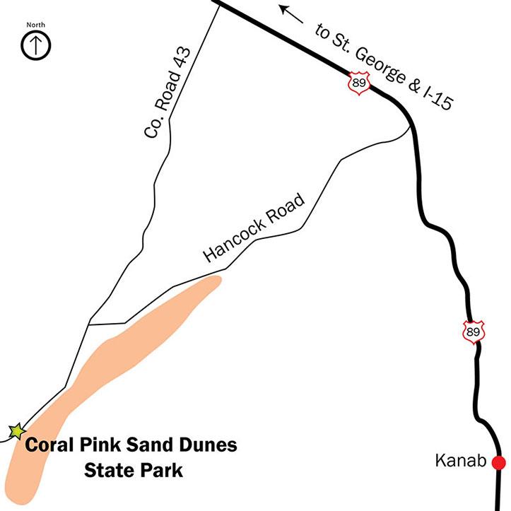 Carte d'accès à Coral Pink Sand Dunes