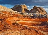 Relief torturé de White Pocket au coucher de soleil, Arizona