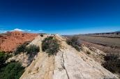 Dans Upper Muley Twist Canyon, le waterpocket fold de Capitol reef à droite et un paysage de grès rouge à gauche, vus du chemin de crête