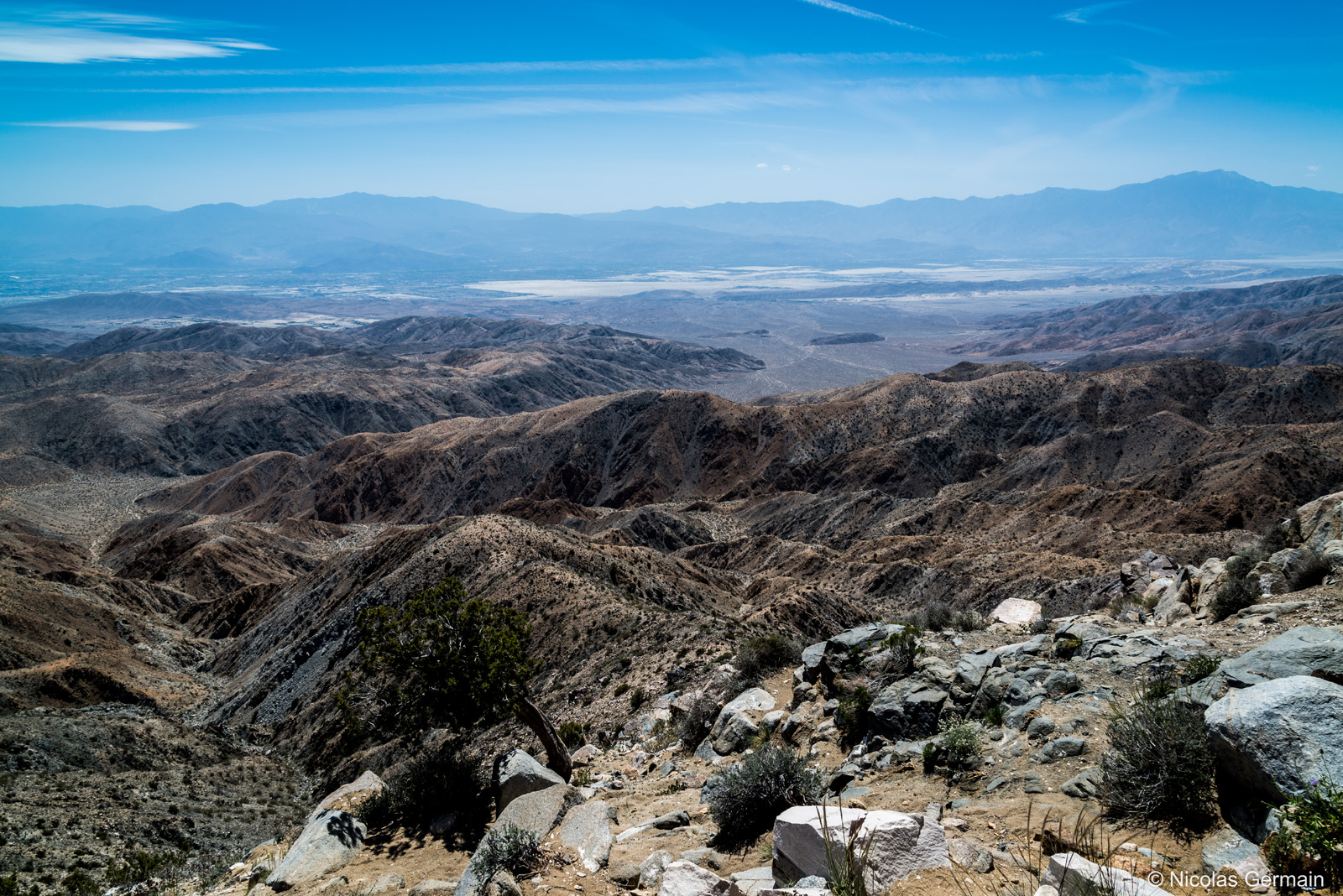 Panorama sur la vallée de Coachella et la faille de San Andreas, au point de vue Keys View, Joshua Tree National Park
