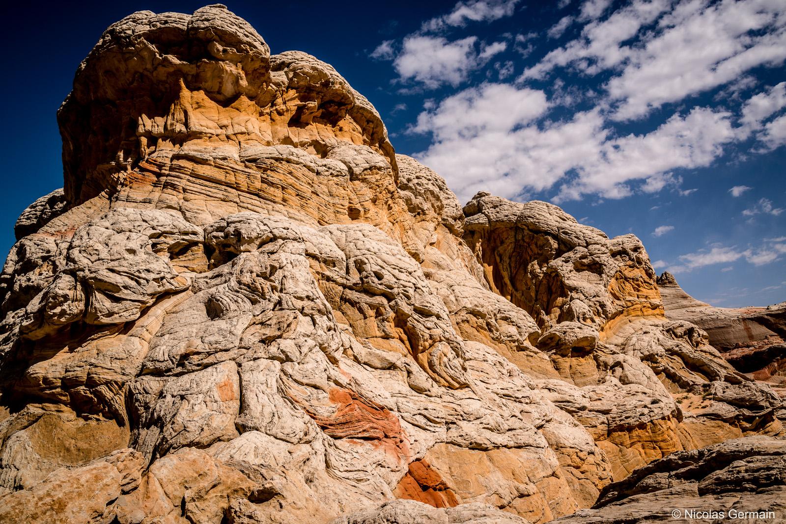 Bon exemple de la forme complexe que l'érosion a donné à la roche dans White Pocket