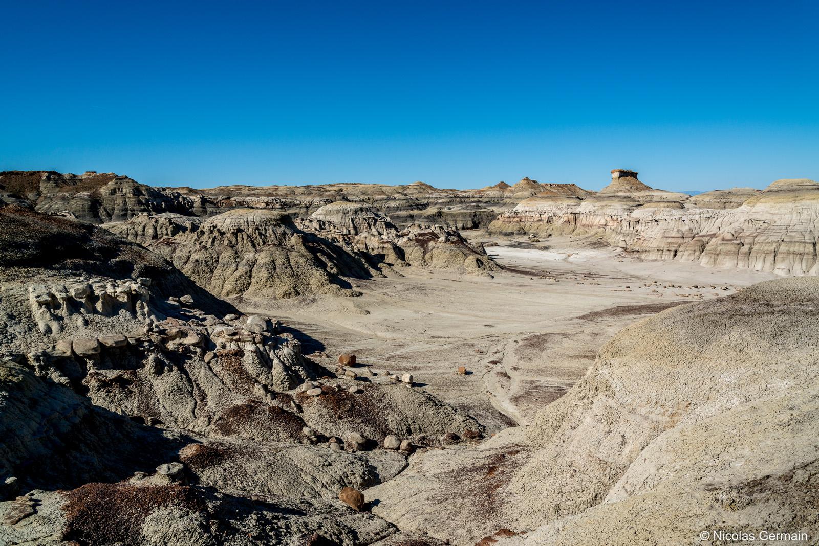 Paysage aride représentatif de Bisti Badlands, Nouveau-Mexique