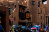 Centre-ville (downtown) de Santa Fe et ses bâtiments de style adobe, Nouveau-Mexique