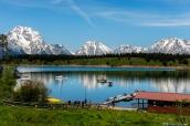 Vue sur les montagnes de Grand Teton et Jackson Lake depuis Signal Mountain Road, Wyoming
