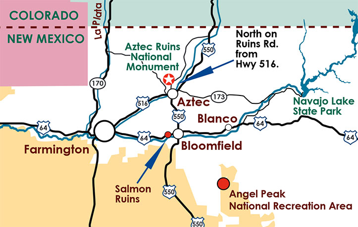 Carte d'accès à Aztec Ruins National Monument