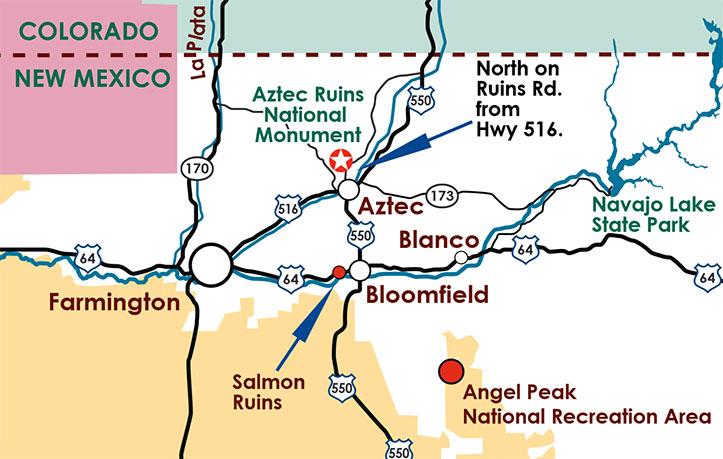 Carte d'accès à Aztec Ruins National Monument