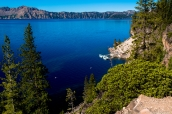 Docks de Crater Lake vus de Cleetwood Trail, Oregon
