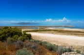 Paysage du Grand Lac Salé à Antelope Island, Utah