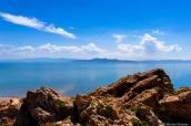 Grand Lac Salé vu du sommet de l'île d'Antelope près de Salt Lake City, Utah