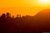 Coucher de soleil sur les montagnes de Los Angeles vu de Griffith Observatory
