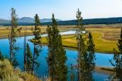 La rivière Yellowstone sillone au milieu de la prairie dans Yellowstone National Park, Wyoming