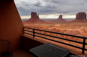 Vue du balcon d'une chambre de The View Hotel, Monument Valley