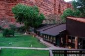 Vue extérieure sur la cour et les bâtiments du Supai Lodge