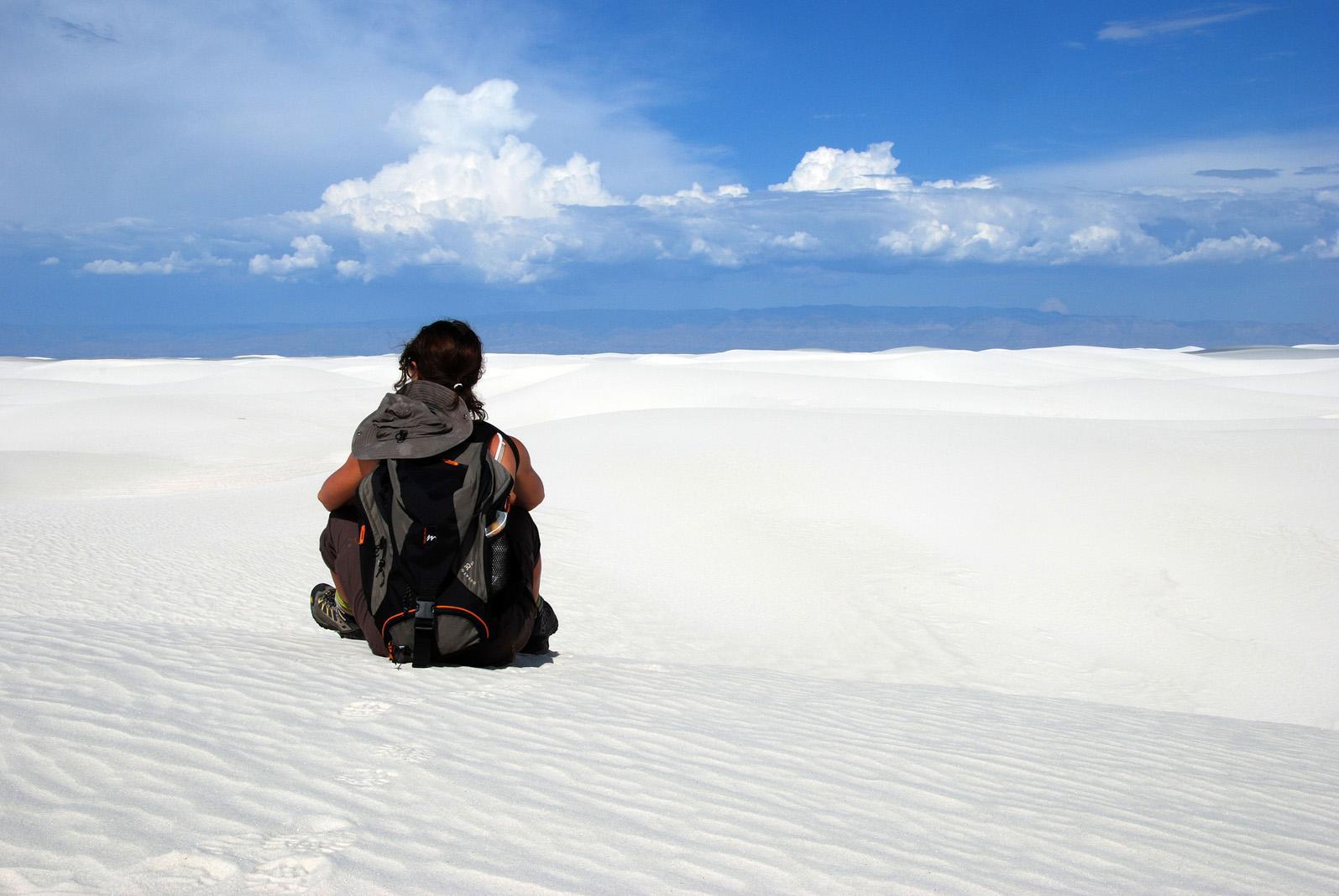 Randonnée dans White Sands, Nouveau-Mexique