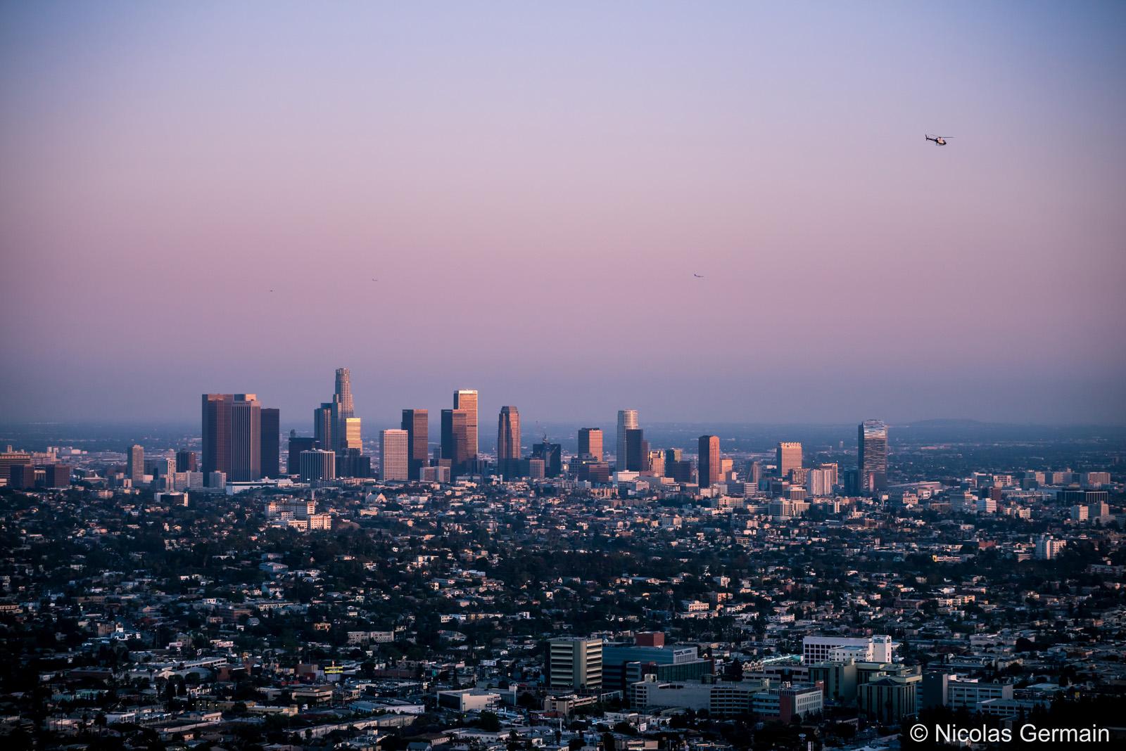 Début de coucher de soleil sur Los Angeles vu de l'Observatoire Griffith