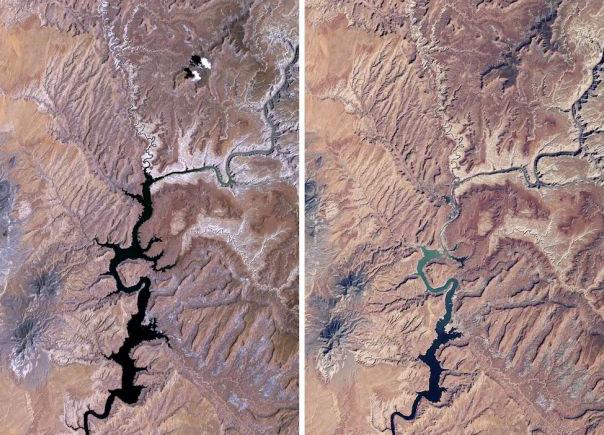 Preuve de la sécheresse sur une vue satelitte du Lac Powell