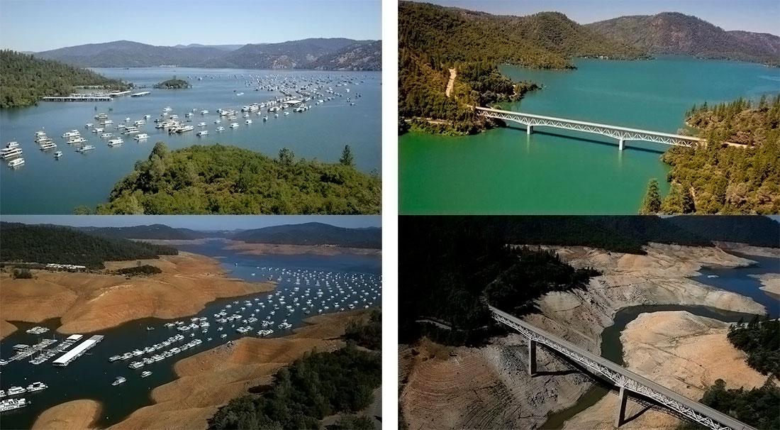 Exemple avant/après de sécheresse près d'Oroville dans le nord de la Californie
