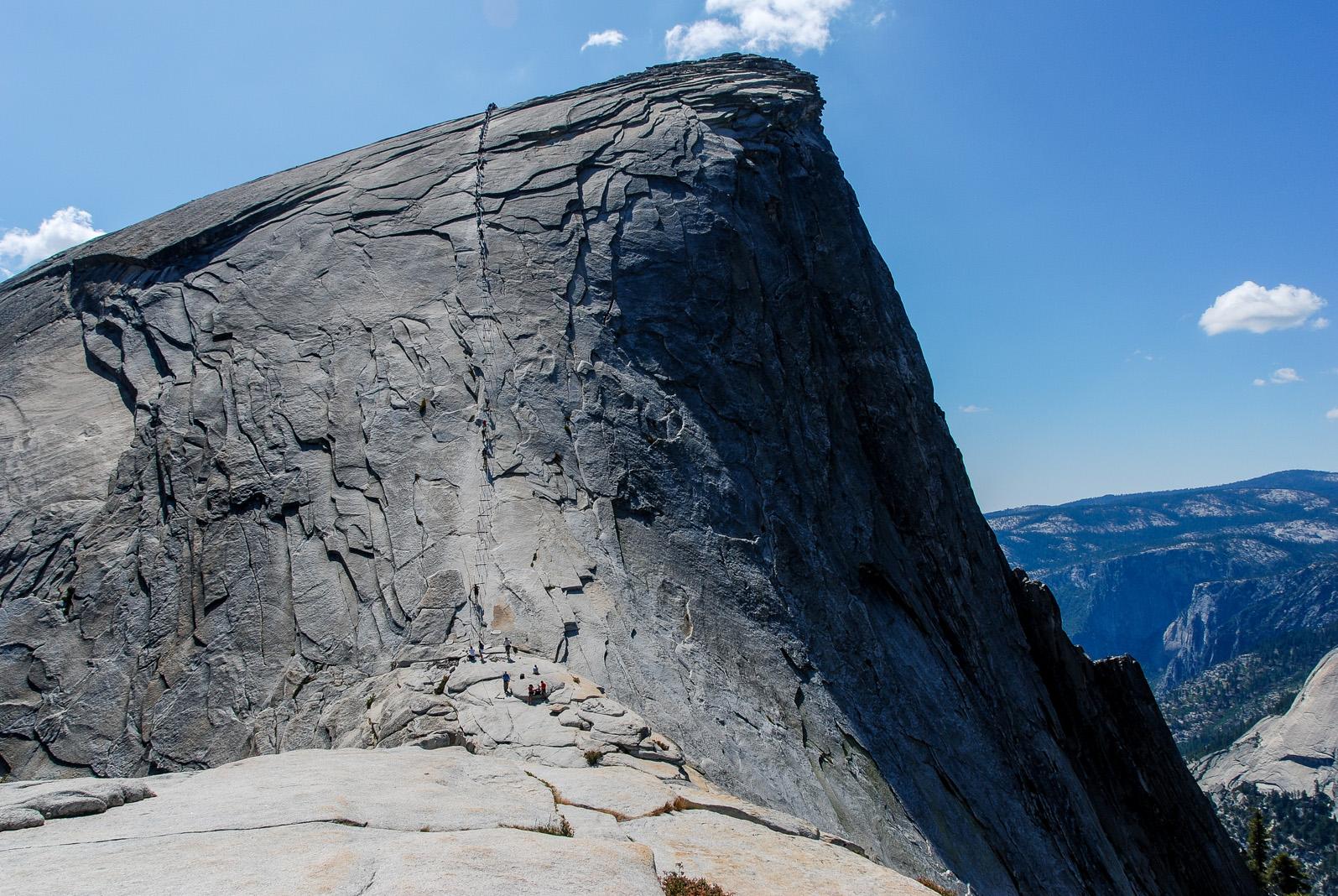 Half Dome et passage des câbles après la descente, Yosemite