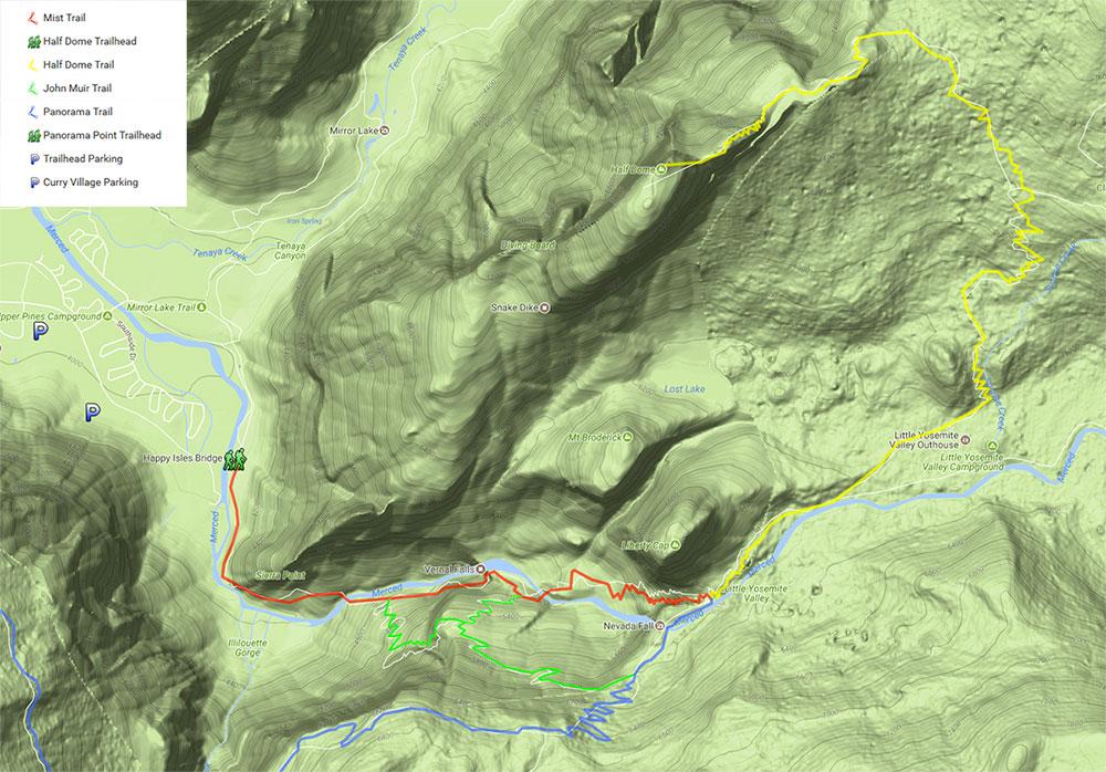 Carte de la randonnée du Half Dome à Yosemite