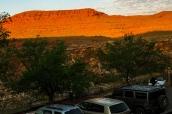 Coucher de soleil vu du motel San Juan Inn de Mexican Hat, Utah