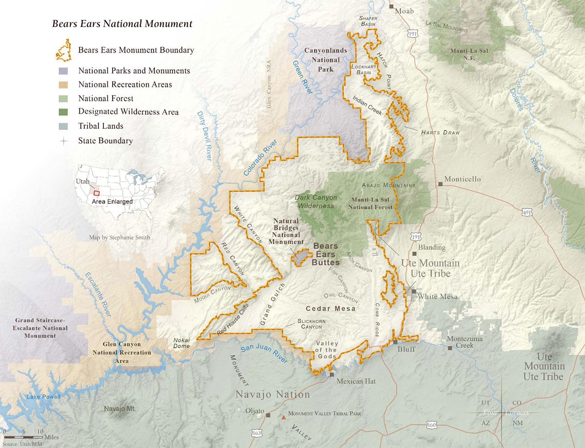 Carte délimitant Bears Ears National Monument, dans le sud-est de l'Utah
