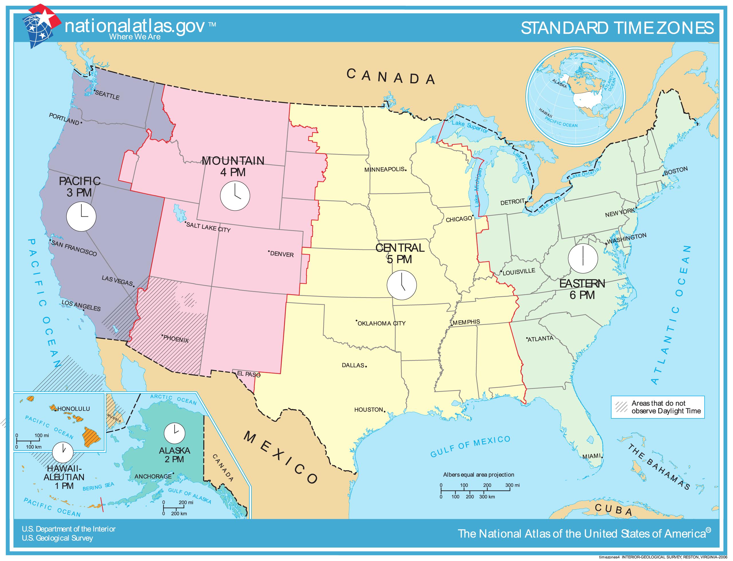 Carte des fuseaux horaires aux Etats-Unis