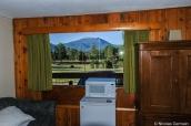 Vue sur les montagnes depuis une chambre du Coyote Mountain Lodge, Estes Park, Rocky Mountain National Park