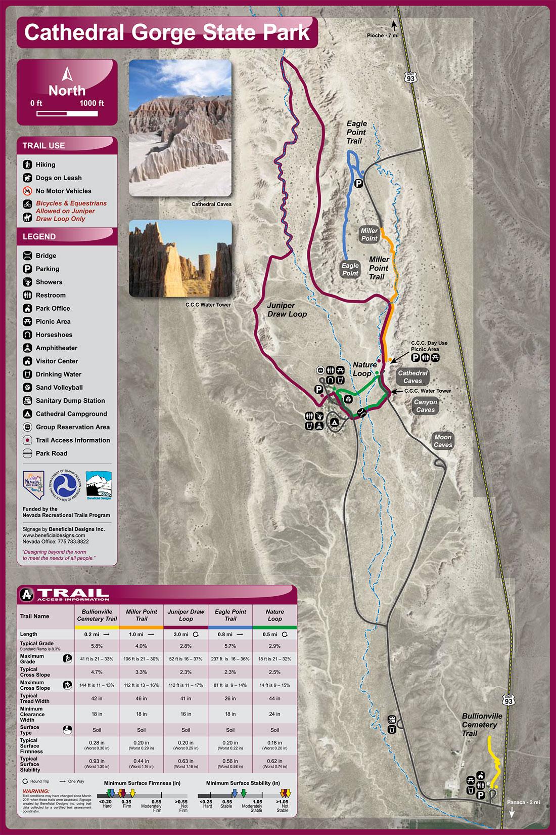 Carte de Cathedral Gorge State Park