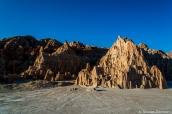 Début du coucher de soleil sur les formations de Cathedral Gorge près de Moon Caves, Nevada