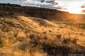 Coucher de soleil sur la mesa et la plaine de Chaco Canyon