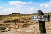 Panneau d'intersection entre Pueblo Alto et New Alto sur le sentier de Pueblo Alto Trail, Chaco Culture