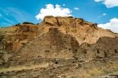 Un mur en ruine de Pueblo Bonito au pied de la mesa, Chaco Culture