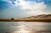 Faible niveau d'eau de Medano Creek au mois de septembre dans Great Sand Dunes, Colorado