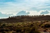 Vue sur les premium cabins de Monument Valley à partir de la randonnée Wildcat Trail