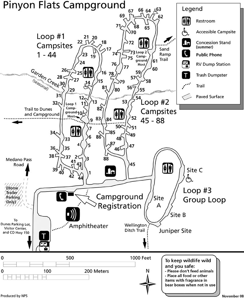 Carte de Piñon Flats Campground, Great Sand Dunes National Park