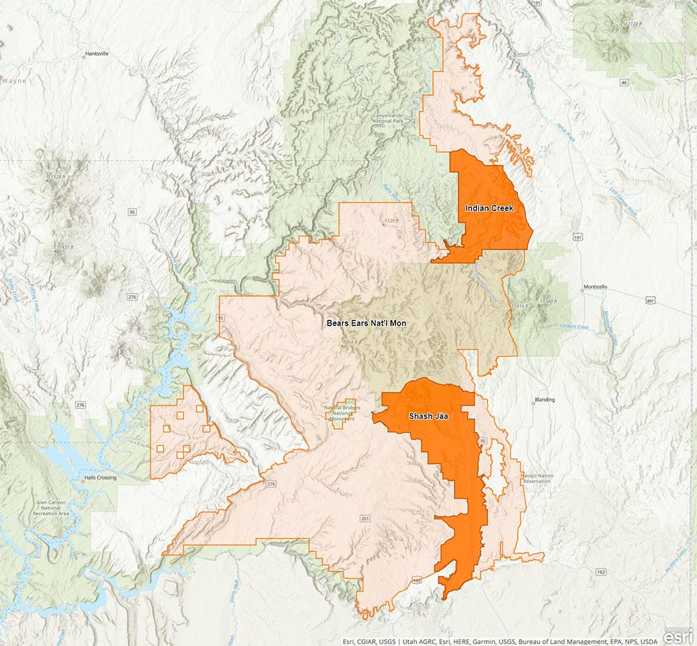 Nouvelle carte de Bears Ears National Monument après la décision de Donald Trump de réduire sa superficie