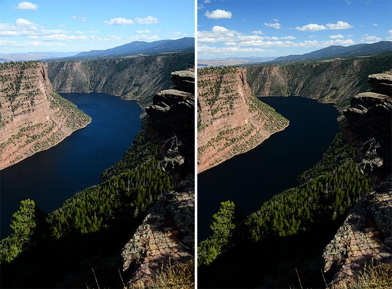 Exemple des effets d'un filtre polarisant sur le bleu du ciel et les reflets sur l'eau