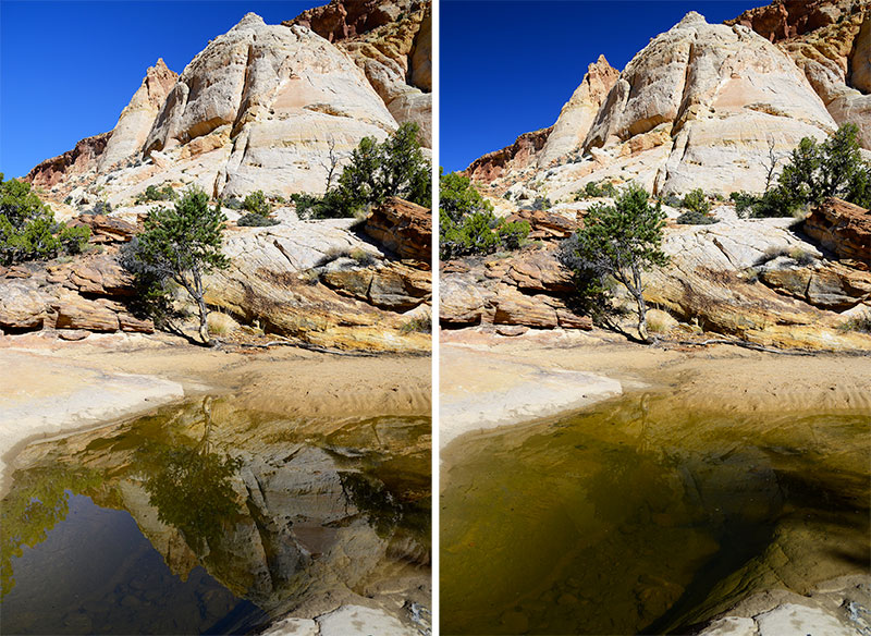 Exemple des effets d'un filtre polarisant sur les reflets sur l'eau