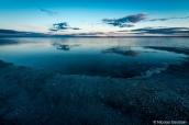 Bonneville Salt Flats sous l'eau après le coucher du soleil