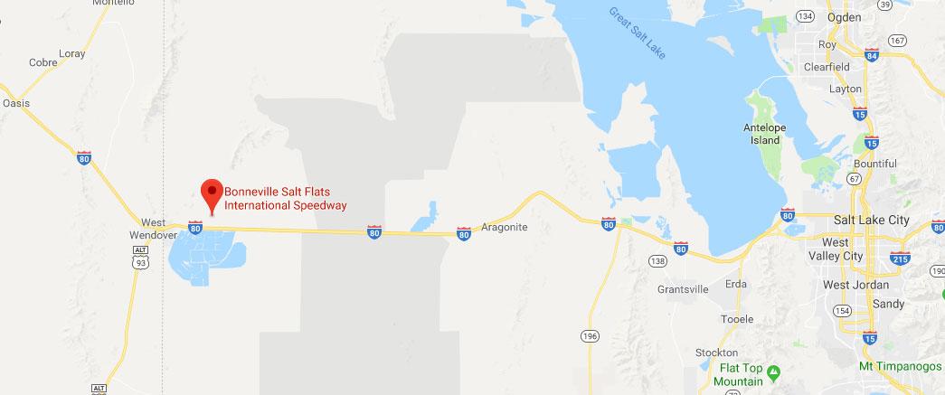 Carte de localisation de Bonneville Salt Flats, Utah
