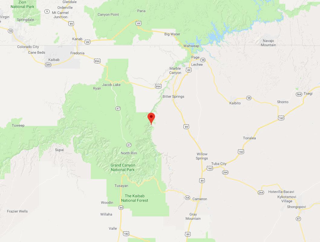 Carte et situation géographique de Tatahatso, Arizona