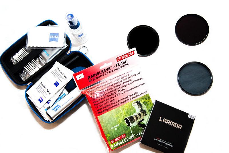 Filtres, protections et nettoyage de l'appareil photo à emmener en voyage