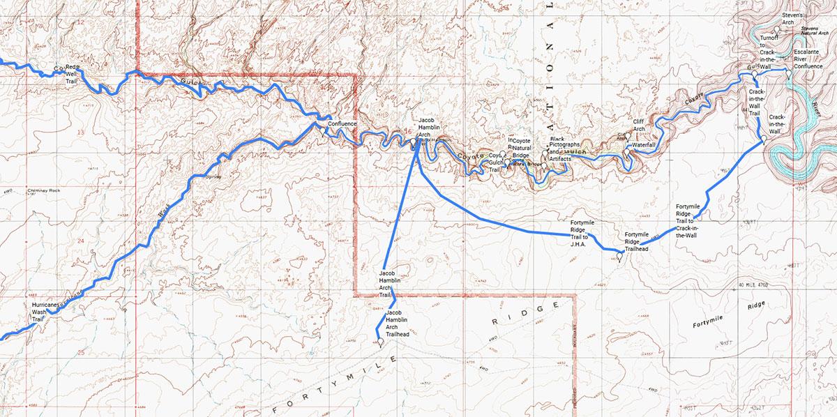 Carte du tracé de la randonnée de Coyote Gulch, Glen Canyon et Grand-Staircase Escalante