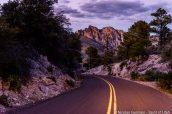 Bonita Canyon Drive après le coucher du soleil, Chiricahua National Monument