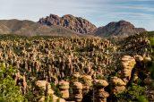Point de vue sur les hoodoos et Cochise Head dans Heart of Rocks, Chiricahua