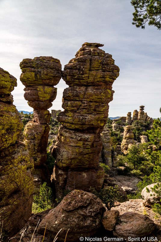 Deux rochers du nom de Kissing Rocks, Chiricahua