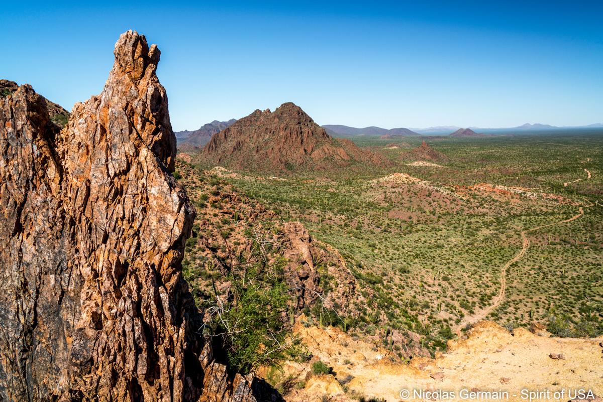 Vue du haut de Dripping Springs Trail, Organ Pipe Cactus
