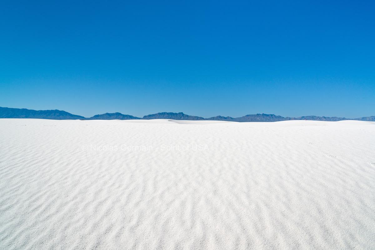 Désert de White Sands et montagnes San Andres en arrière-plan, New Mexico