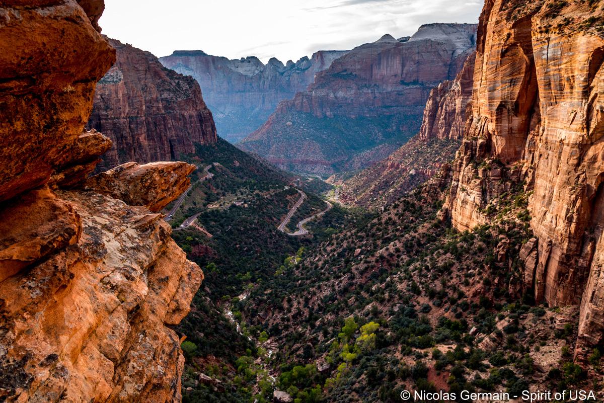 Vue de Canyon Overlook en fin d'après-midi, Zion